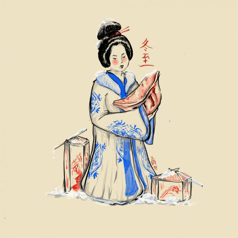 Drawing of Traditional Asian Woman